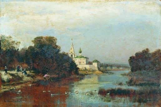 Боголюбов А. П. Пейзаж с белокаменной церковью