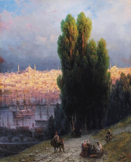Айвазовский И. К. Константинополь. Вид на бухту Золотой Рог с автопортретом рисующего художника