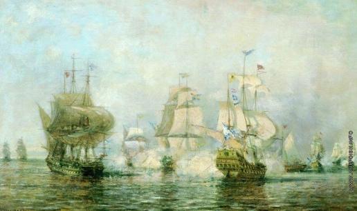 Боголюбов А. П. Первое сражение русского корабельного флота под командой Сенявина около острова Эзель со шведским флотом 24 мая 1719 года