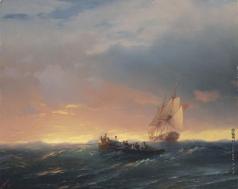 Айвазовский И. К. Корабли на волнах при закате