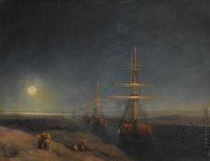 Айвазовский И. К. Корабли, проходящие по каналу лунной ночью