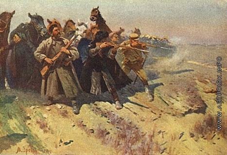 Греков М. Б. Отряд Будённого отражает атаку в пешем строю