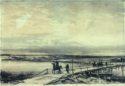 Боголюбов А. П. Понтонный мост через Дунай. 1878 год