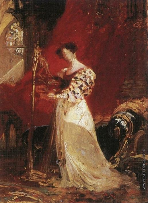 Брюллов К. П. Портрет неизвестной, играющей на арфе