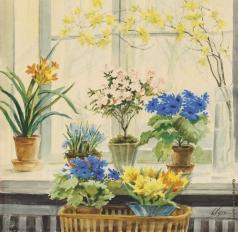Романова О. А. Цветущие ветви и цветы в горшках