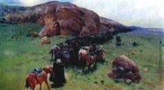 Греков М. Б. На походе. Первая конная