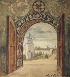 Бенуа А. Н. Вид из дверей церкви Сент-Женевьев-де-Буа
