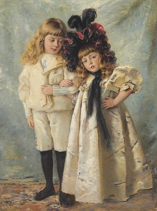 Маковский К. Е. Портрет детей художника, Константина и Ольги