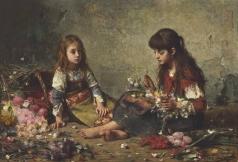 Харламов А. А. Две девочки в окружении цветов