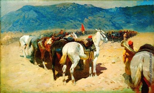 Греков М. Б. Конница на привале. 29-й Кавалерийский полк в Бухаре