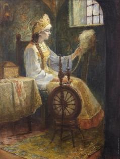 Милорадович С. Д. Русская боярышня за прялкой