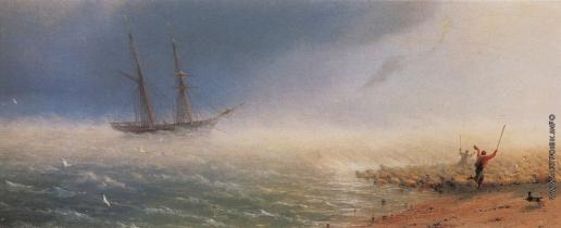 Айвазовский И. К. Овцы, загоняемые бурею в море