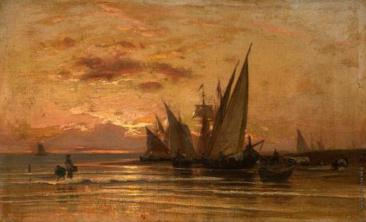Орловский В. Д. Рыбацкие лодки на рассвете