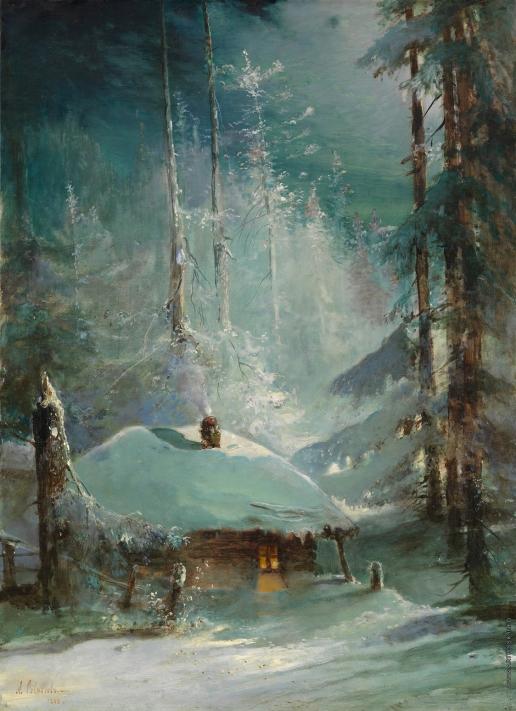 Саврасов А. К. Хижина в зимнем лесу