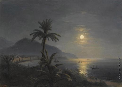Айвазовский И. К. Пальмы около моря при луне
