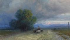 Айвазовский И. К. Повозки, в затопленной долине