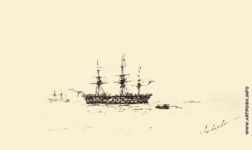 Айвазовский И. К. Трехмачтовое судно. Набросок