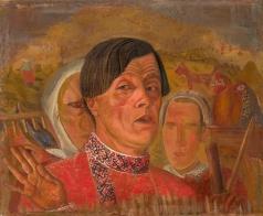 Григорьев Б. Д. Автопортрет с курицей и петухом