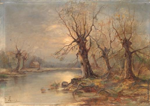 Розен К. И. Речной пейзаж с хатой