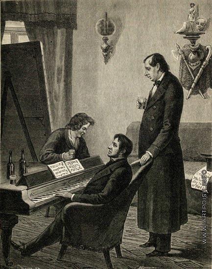 Матюшин И. И. Брюллов, Глинка и Кукольник в 1842 году