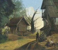 Бодри К. П. Сельский пейзаж с крестьянами