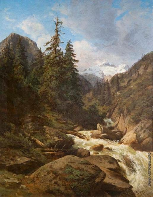Эрасси М. С. Пейзаж с горной рекой