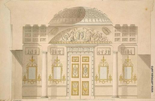 Камерон К. К. Яшмовый кабинет в Агатовом павильоне Холодных бань в Царском Селе. Проект