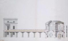 Камерон К. К. Разрез по центральной оси Агатового павильона и Висячего сада в Царском Селе. Проект