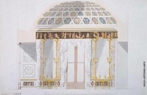 Камерон К. К. Проект стены Яшмового кабинета Агатового павильона в Царском Селе