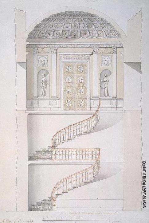 Камерон К. К. Проект лестницы павильона Холодных бань в Царском Селе