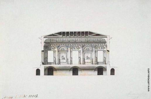 Кваренги Д. Концертный зал в Екатерининском парке Царского Села. Продольный разрез по главному помещению
