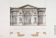 Кваренги Д. Смольный монастырь в Санкт-Петербурге. Иконостас угловой церкви, фасад и план