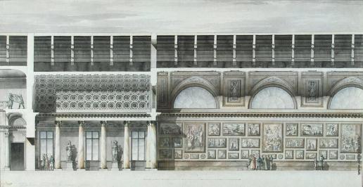 Кваренги Д. Малый Эрмитаж. Музейные залы над корпусом конюшен и манежа.  Часть продольного разреза
