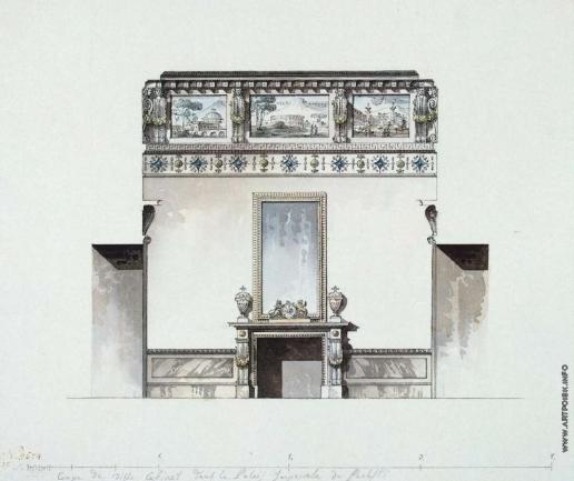 Кваренги Д. Павловский дворец. Туалетная. Продольный разрез