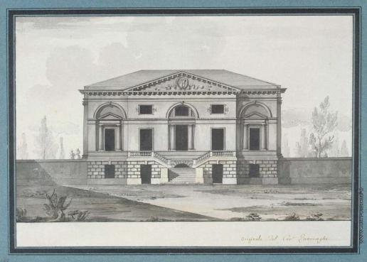 Кваренги Д. Вилла лорда Уитворта в Царском селе. Фасад с лестницей и террасой
