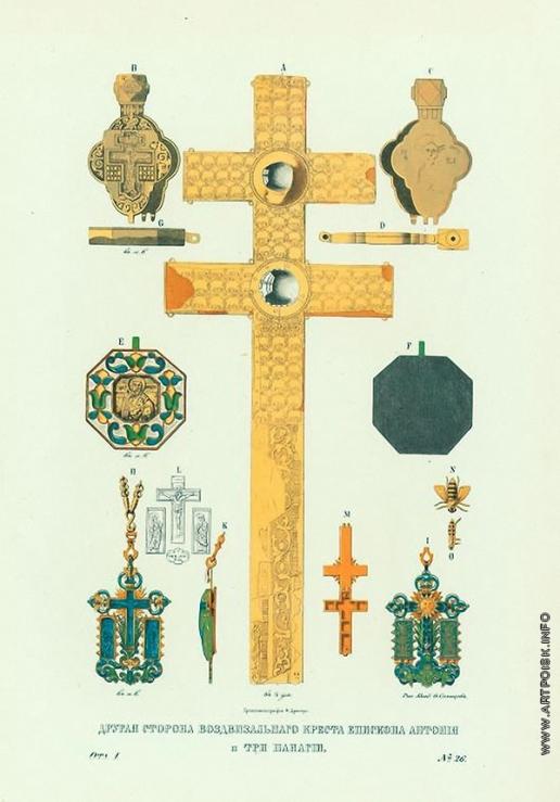 Солнцев Ф. Г. Другая сторона воздвизального креста епископа Антония 1212 г. и три панагии