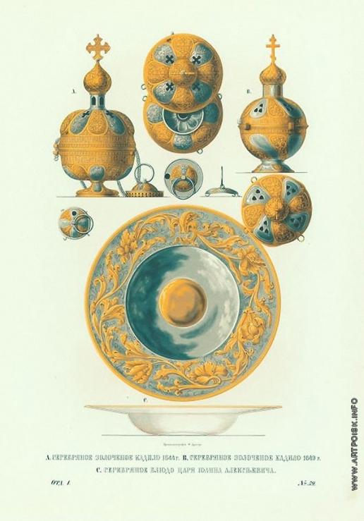 Солнцев Ф. Г. Серебряное золоченое кадило 1544 и 1649 гг. и серебряное блюдо царя Иоанна Алексеевича