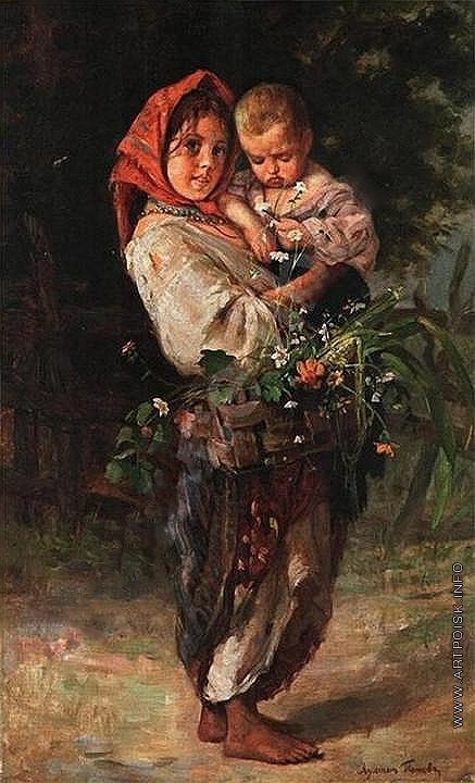 Попов Л. В. Девочка-крестьянка с ребенком и корзиной в руках