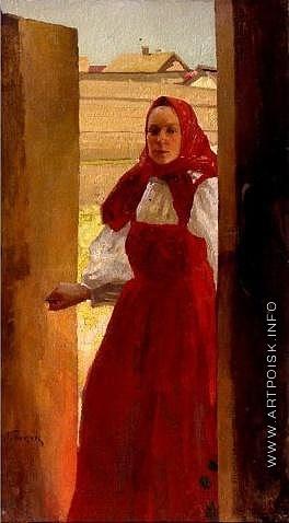 Попов Л. В. Портрет жены в красном сарафане