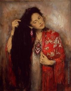 Попов Л. В. Портрет жены в пестром платке