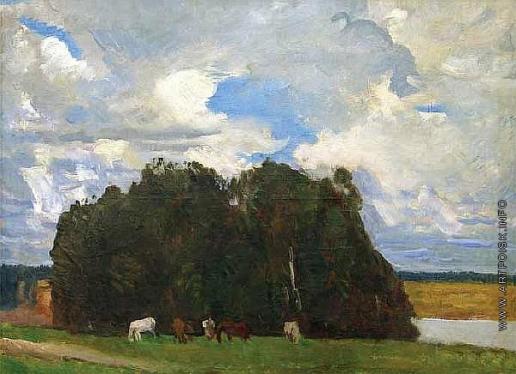 Герасимов С. В. Пейзаж с лошадьми