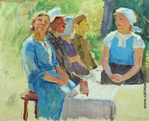 Герасимов С. В. За столом. Этюд к картине «Колхозный праздник»