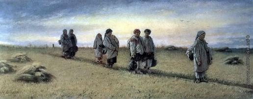 Перов В. Г. Возвращение жниц с поля в Рязанской губернии