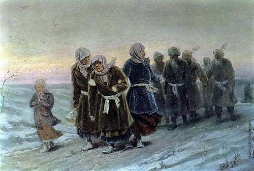 Перов В. Г. Возвращение крестьян с похорон зимою