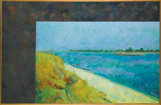 Кабаков И. И. Пейзаж с баржей