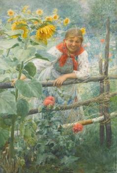 Сычков Ф. В. Девушка с подсолнухами