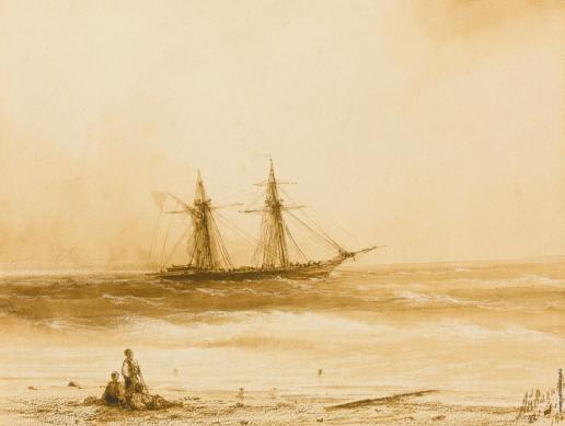 Айвазовский И. К. Корабль, отплывающий от турецкого побережья