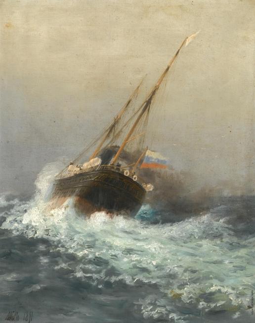 Лагорио Л. Ф. Пароход в открытом море