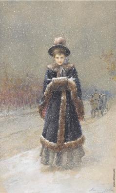 Малышев Н. Т. Женщина во время снегопада