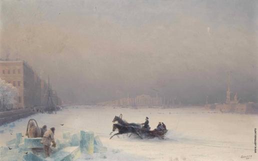 Айвазовский И. К. Александр II на замерзшей Неве
